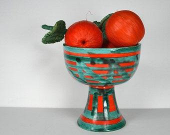 Art Pottery Pedestal Bowl, Orange & Turquoise, Abstract Geometrics, Bitossi-Raymor Type, Made in Italy