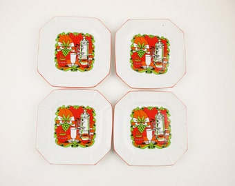 Four Brunch Plates - 'Enesco' Foil Labels - Coffee Theme - Orange Rims With Lime Green, Melon and White Outlined in Black - Groovy