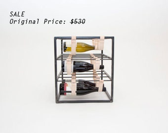 SALE  Leather and Steel Wine Rack for your Kitchen or Dining Room