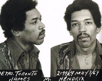 Jimi Hendrix, Purple Haze, Hey Joe, Mugshot photo, Watchtower, Black and white, old, vintage antique, photography, picture, print, fine art