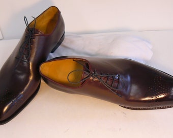 made to order Italian calf leather wholecut style men's shoes