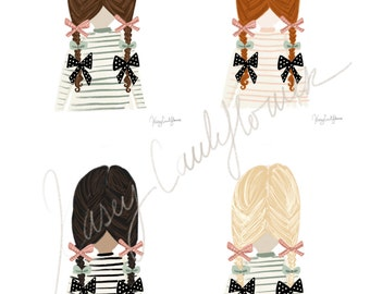 SALE - Customizable bows illustration digital printable