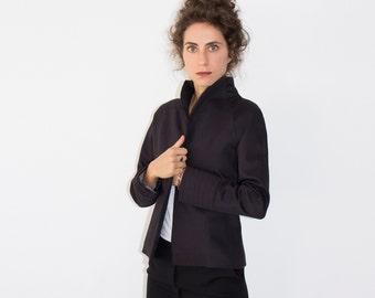 Black Jacket, Linen Jacket, Short Coat, Cropped Jacket, Linen Clothing, Gothic Jacket, Fall Clothing, Steampunk Jacket, Womens Outerwear