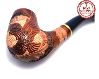 "Tobacco Smoking Pipe ""AMERICAN EAGLE"". Smoking Pipe. Woodcarved smoking pipe. Handmade, Handcarved, Tobacco pipes"