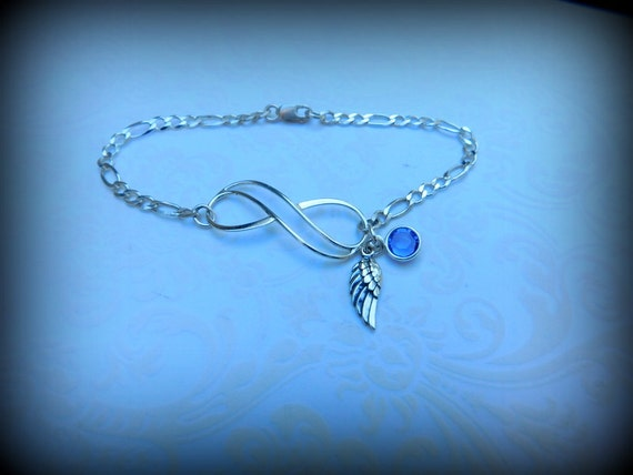 Sterling silver angel infinity bracelet, heavenly jewelry, memorial jewelry, angel wing bracelet, wedding bracelet