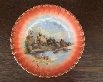 ANTIQUE G. D. & C. Limoge Plate - Invergarry Castle Scotland - Orange with Gold Trim