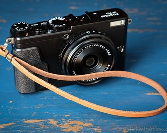 Camera Hand Strap for small cameras - natural leather