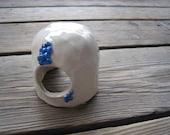 White and Blue Betta Cave - Ceramics and Pottery - Tiny Toad Abode - Aquarium Decorations - Fish and Reptiles - Faerie Garden House