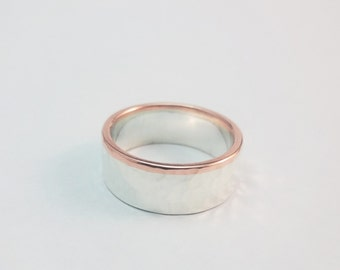 Wide Mens Silver and Copper Wedding Band