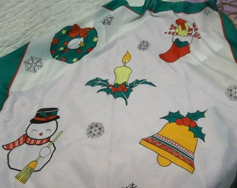 """Vintage Christmas Scarf, 30 x 30"""", Wreath, Candle, Bell, Stocking, Snowman, S"""