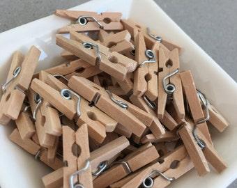 Mini Wooden Pegs - 25 Mini Wooden Pegs