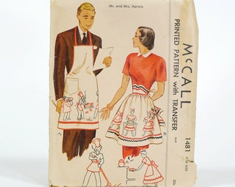 Vintage 1949 McCall Mr. and Mrs Aprons Printed Pattern - One Size - No. 1481 With Original Sleeve