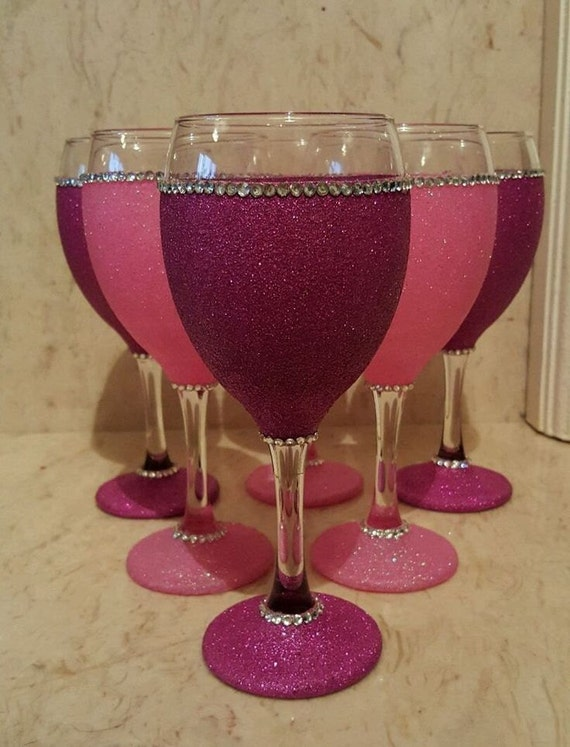 Items similar to glitter wine glass rhinestone wine glass How to make wine glasses sparkle