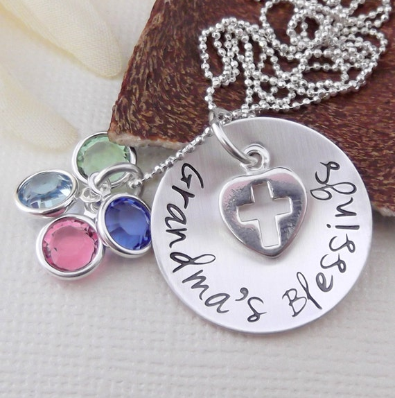 Religious Grandma Necklace- Grandma's Blessings Necklace- Personalized Grandma Jewelry- Hand Stamped Grandma Necklace-  Grandma Cross