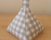 Handmade Pyramid doorstop, fabric doorstop Shabby, Cottage chic, Clarke & Clarke taupe gingham, Cottons, Handmade