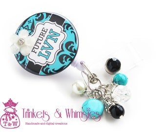 Future LVN Student Nurse Damask Turquoise Retractable Badge Holder