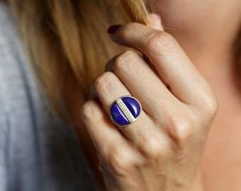 Lapis ring, Lapis Lazuli Ring, Gold Boho Ring, Moon Ring, Half Moon ring, Blue Ring, Lapis Diamond Ring, Statement Ring, 14k Solid Gold