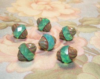 6  Turquoise Carved 12x10 Picasso Turbine Beads