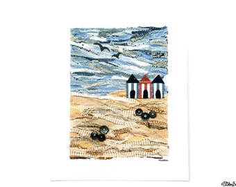 Fabric Collage Print Beach Huts Beach Scene Fabric Collage 8x10 Art Print, Wall Art, Home Decor, Beach, Sand, Beach Print, Seaside Print, UK
