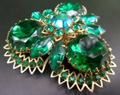 JUDY LEE Green Rhinestone AB Brooch, 2 Tier Layer, Signed Vintage