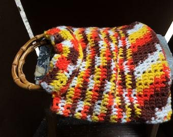 Yarn and Bamboo Handled Purse