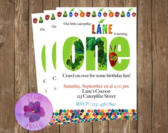 Hungry Caterpillar Birthday Invitation 5x7