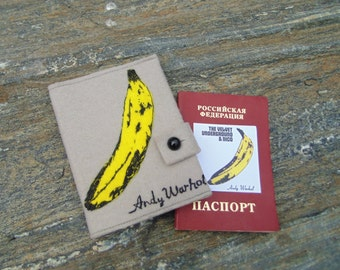 Andy Warhol Velvet Underground Cover/ Hand Embroidered Passport Holder/Pop Art Passport Wallet/Vegan Felt Cover