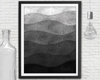 Printable abstract art Black and white print Abstract modern art Wave art wave print Black and white art Modern printable art
