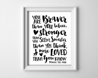 Nursery PRINTABLE wall art - Winnie the Pooh quote - Black and white print - Baby shower gift - Classroom - Inspirational quote - SKU:1031