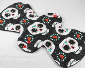 "Reusable Cloth Pad - 13"" (33cm) Overnight/Postpartum with Double Flare - Happy Sugar Skulls Flannel"