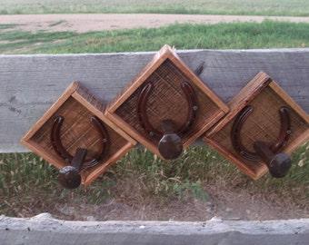 Railroad Spike Coat and Hat Hangers, Rustic Oak, set of three