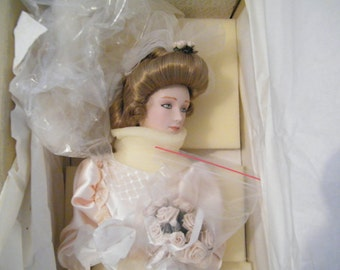 GIBSON Girl Bride Doll from Franklin Heritage Mint, excellent condition, Vintage elegance makes great Bridal gift, Anniversary, Keepsake NIB