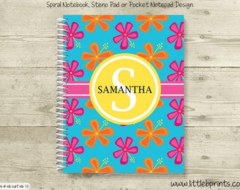 Pink & Orange Tropical Hibiscus Flowers Personalized Spiral Notebook Back to School Notebook