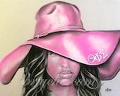 "Theta Phi Sigma, African American Art, Afro Art, Greek, Sorority, Sororities, 11 x 14 Fine Art Print ""Ms. Theta Phi Sigma"""