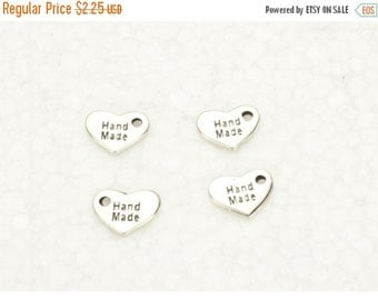 20% OFF 4 Handmade Heart Tags - Antique Silver - Pendants - Charms