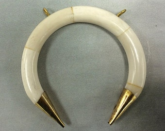 """White Ivory Bone Crescent moon Pendant, 3"""" Double ended crescent arch shaped pendant, 2 loops, Gold Capped, White, Real Bone  - TP151-WG"""