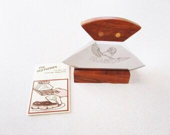 Vintage Ulu Factory Knife Alaskan With Wood Base Artic