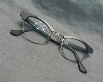 Vintage Eyeglasses Cat Eye Frames Grey Eye Wear Gold Filled  Rockabilly 1950s Wire Rim Star Corners Taupe Ombre