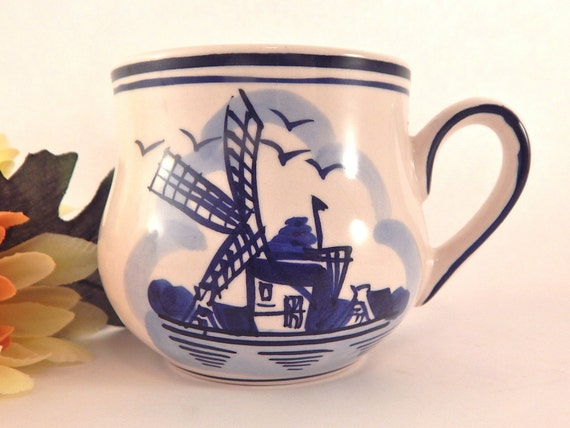 Delft Cup Vintage Coffee Mug Dutch Blue And White Beverage