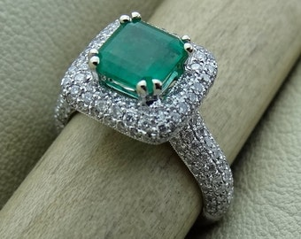 Vintage Estate Natural Emerald with Pave Diamond Halo Engagement Ring  18k White Gold Antique Style Available Now