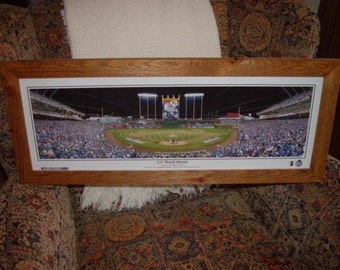 FREE SHIPPING Kansas City Royals 2015 World Series Champions custom framed Kauffman Stadium Game 1 October 27, 2015 oak finish