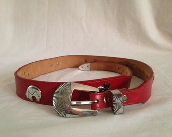 Red Leather Southwestern Belt - Genuine Leather - Made in USA - Silver Creek Collection