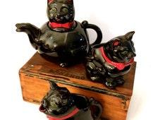 Shafford Iconic Black Cat Tea Set, Red Bow Black Cat, Tea Pot Creamer and Sugar, Japan, 1950s