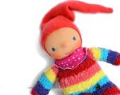 Waldorf doll, toddler gift, baby shower gift, gnome doll, plush doll, baby toys, cloth doll, handmade soft doll, rainbow sock doll