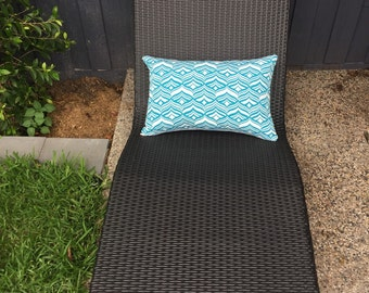 Rectangle Outdoor Cushion Cover/pillow in Warwick Coolum Outdoor Fabric in Avoca Turquoise.