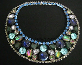 PIERRE BALMAIN PARIS Awe Inspiring Parisian Glamour Rhodium JeweledEmerald Sapphire Aquamarine Iridescent Watermelon Rivoli Crystal Necklace
