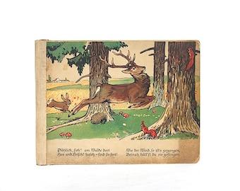 Antique Childrens Book - Vintage Children's Book - Childrens Art - Childrens Board Book Illustrations - Nursery Decor - Antique German Book