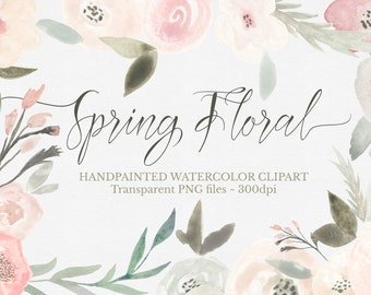 Watercolor Spring time Flowers  Clipart Files - High Res Transparent PNG - Hand Painted Digital Scrapbook elements - Instant download