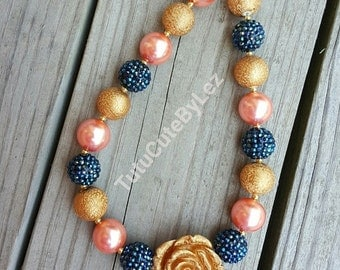 Gold Coral and Navy Blue Bow Chunky Bead Necklace