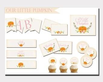Pumpkin Birthday | Our Little Pumpkin | Pumpkin Birthday Decoration | Fall Birthday Invitation | Pumpkin Banner | Pumpkin Favor Tags